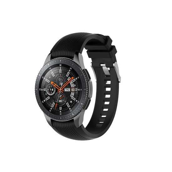 Silicone Strap For Samsung Galaxy Watch 46mm / Gear S3 22mm (Grey & Black-Dotted)