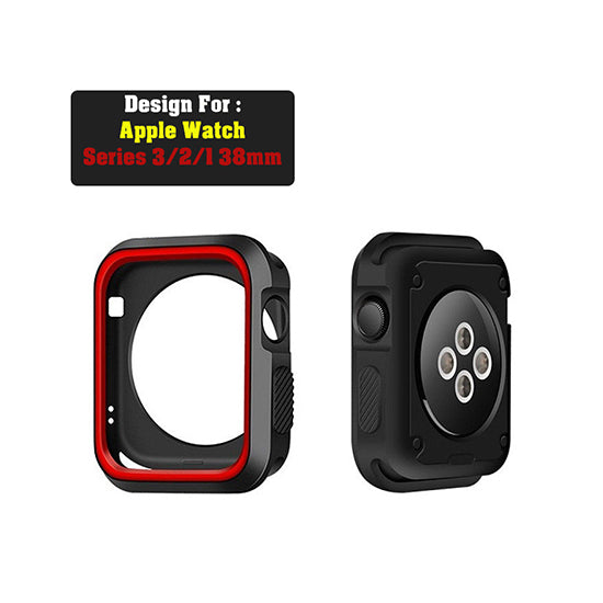 Armour Protective Bumper Case Cover for Apple Watch 38mm Series 1/2/3-Black & Red