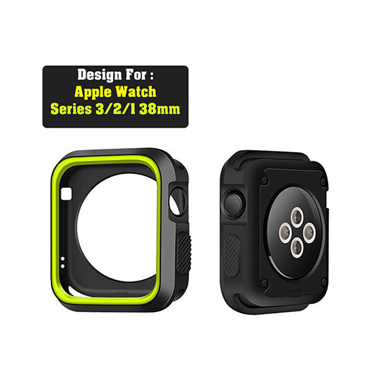 Armour Protective Bumper Case Cover for Apple Watch 38mm Series 1/2/3-Black & Green