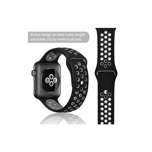 Dotted Silicone Strap for iWatch 42-44mm Black Grey