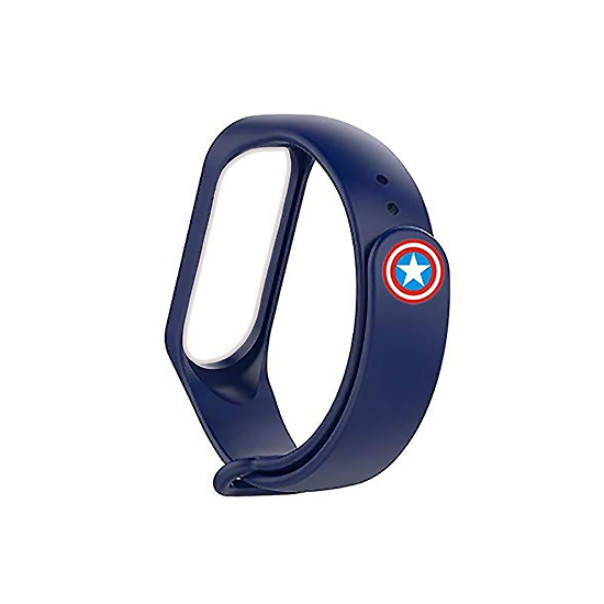 Silicone Wristband for Mi Band 4/ Mi Band 3 (Midnight Blue-Captain America Edition )