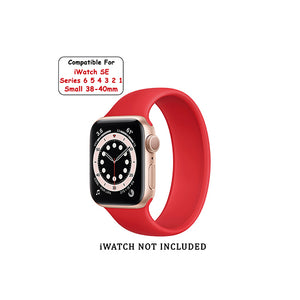 Solo Loop Elastic Silicone Strap for Apple Watch 38/40mm-Red (Small)