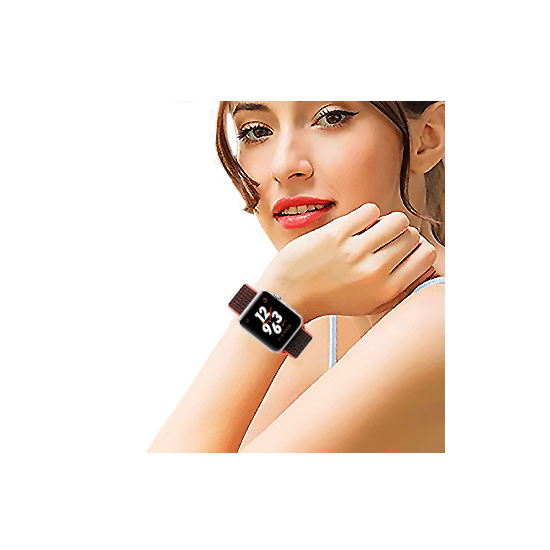 Woven Nylon Strap For Apple Watch Peach Black (42/44mm) - CellFAther
