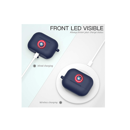 Silicone Case Cover for Airpods Pro (Midnight Blue With Captain America Logo) - CellFAther