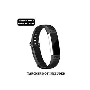 CellFAther Silicone Strap For Fitbit Alta Bands/Alta HR/Ace-Black