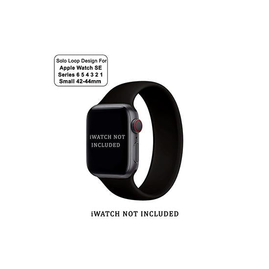 CellFAther Small / Black Solo Loop Elastic Silicone Strap for Apple Watch 42/44mm-Black (Large)