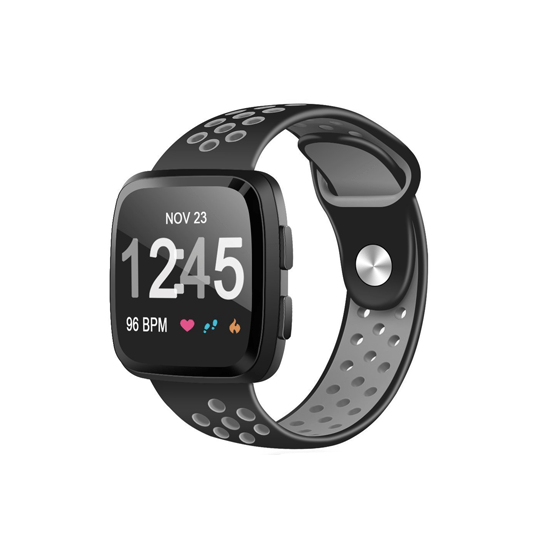 CellFAther Strap Black&Grey Silicone Strap For Fitbit Versa/Fitbit Versa 2/Fitbit Versa Lite Edition (Midnight Blue-Plain) Silicone Strap For Fitbit Versa/Fitbit Versa 2/Fitbit Versa Lite Edition (Black) | bestcell2017