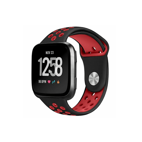 Silicone Strap For Fitbit Versa/Fitbit Versa 2/Fitbit Versa Lite Edition ( Dotted - Black&Red) - CellFAther
