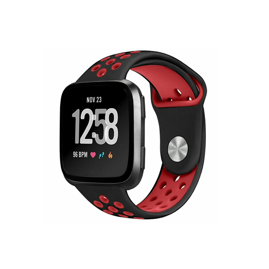 CellFAther Strap Black&Red Silicone Strap For Fitbit Versa/Fitbit Versa 2/Fitbit Versa Lite Edition (Midnight Blue-Plain) Silicone Strap For Fitbit Versa/Fitbit Versa 2/Fitbit Versa Lite Edition (Black) | bestcell2017