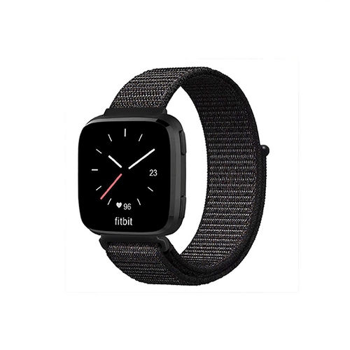 Woven Nylon Strap For Fitbit Versa/Versa 2 /Versa Lite (Black) - CellFAther