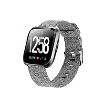 Load image into Gallery viewer, Woven Nylon Strap For Fitbit Versa/Versa 2 /Versa Lite (Carbon black) - CellFAther