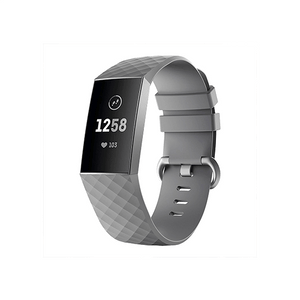 Silicone Replacement Band For Fitbit Charge 3/ SE (Large-Grey) - CellFAther