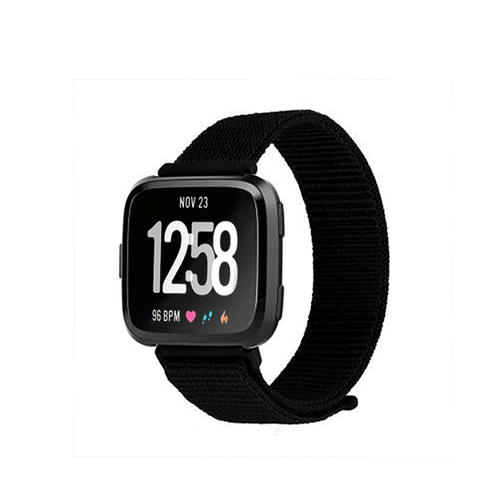 Woven Nylon Strap For Fitbit Versa/Versa 2 /Versa Lite (Jet Black) - CellFAther