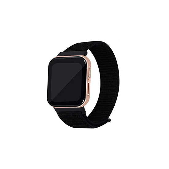 CellFAther Strap Jet Black Woven Nylon Strap for Oppo Watch 41mm -Rainbow