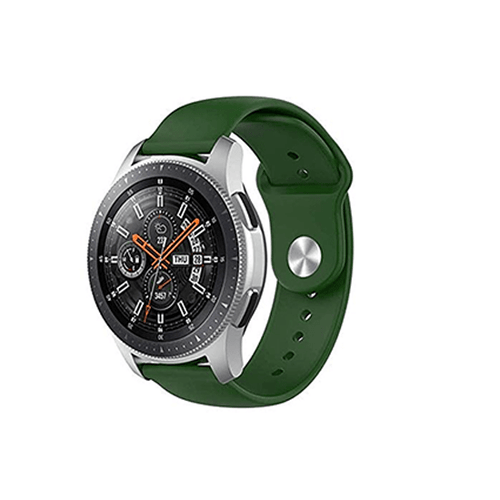 Silicone Strap For Samsung Galaxy Watch 46mm / Gear S3 22mm (Army Green-Plain) - CellFAther