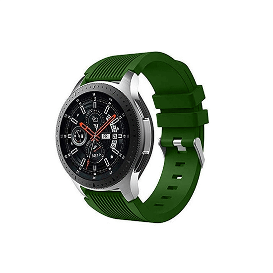 Silicone Strap For Samsung Galaxy Watch 46mm / Gear S3 22mm (Army Green-Vertical Pattern) - CellFAther