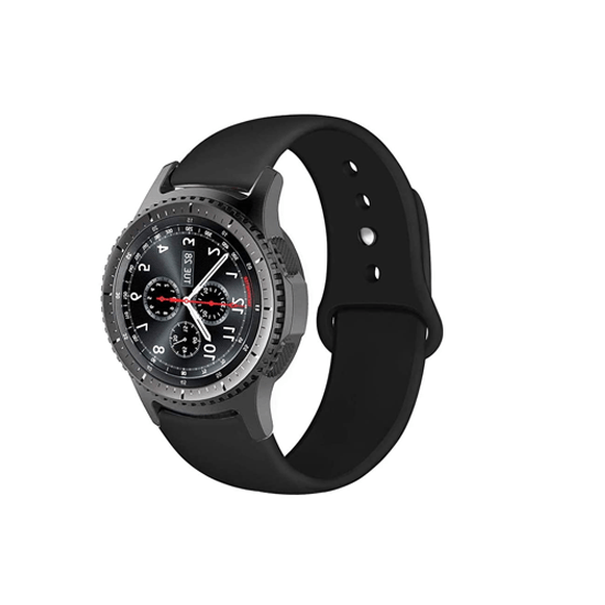 Silicone Strap For Samsung Galaxy Watch 46mm / Gear S3 22mm (Black-Plain) - CellFAther