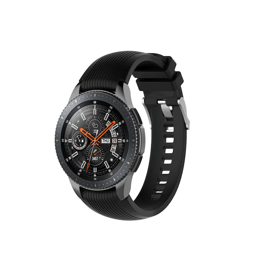 Silicone Strap For Samsung Galaxy Watch 46mm / Gear S3 22mm (Black-Vertical Pattern) - CellFAther