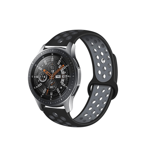Silicone Strap For Samsung Galaxy Watch 46mm / Gear S3 22mm (Grey & Black-Dotted) - CellFAther
