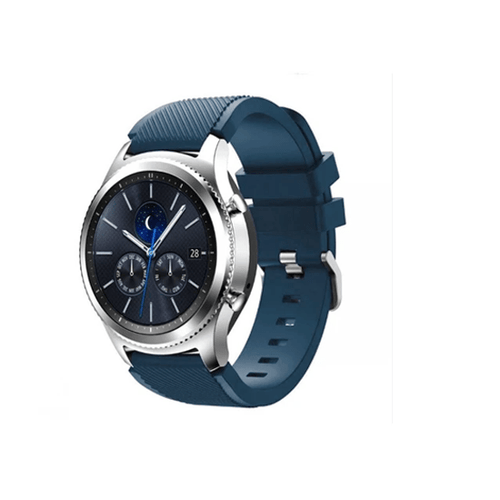 Silicone Strap For Samsung Galaxy Watch 46mm / Gear S3 22mm (Midnight Blue-Diagonal Pattern) - CellFAther