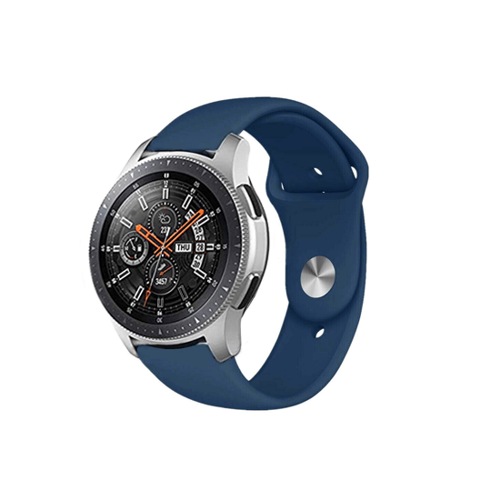 Silicone Strap For Samsung Galaxy Watch 46mm / Gear S3 22mm (Midnight Blue-Plain) - CellFAther