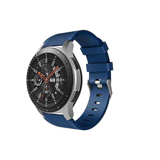 Silicone Strap For Samsung Galaxy Watch 46mm / Gear S3 22mm (Midnight Blue-Vertical Pattern) - CellFAther