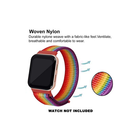 CellFAther Strap Woven Nylon Strap for Oppo Watch 41mm -Rainbow