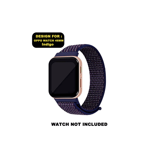 CellFAther Woven Nylon Strap for Oppo Watch 46mm-Indigo