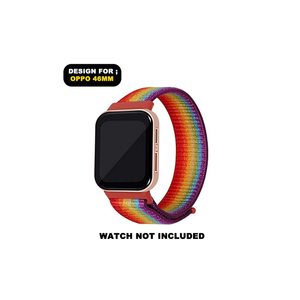 CellFAther Woven Nylon Strap for Oppo Watch 46mm-Rainbow