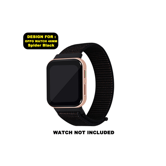 CellFAther Woven Nylon Strap for Oppo Watch 46mm-Spider Black