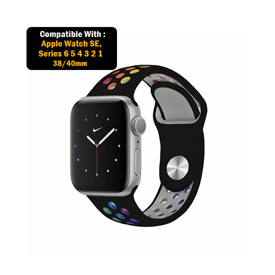 Dotted Silicone Strap for iWatch 38-40mm Black Rainbow