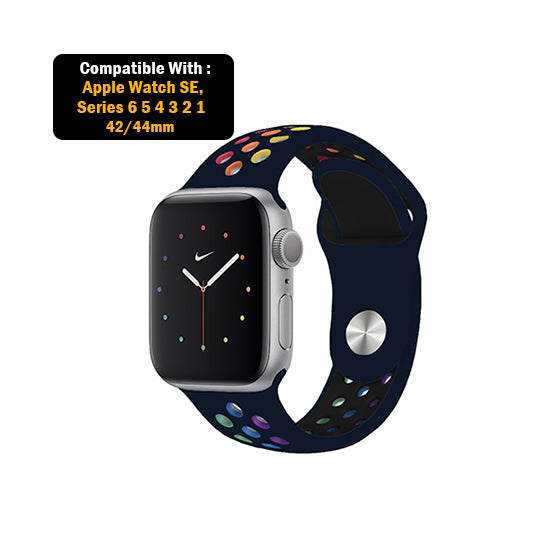 Dotted Silicone Strap for iWatch 42-44mm-Dark Blue Rainbow