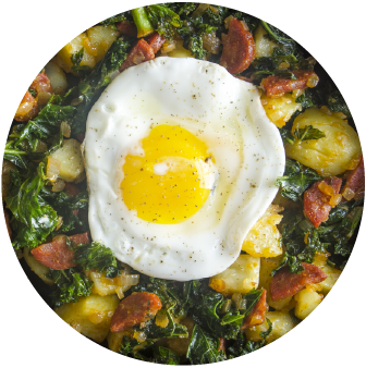 Red Potato & Kale Hash with Chorizo & Baked Eggs
