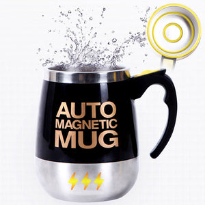Tazas coffee mug Stainless Steel Magnetic Self Stirring Automatic Cover Milk Mixing Mugs