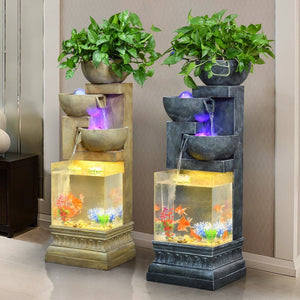 European Style Water Fountain Creative Home Living Room Rockery Atomization Humidification Fish Tank Home Decorations