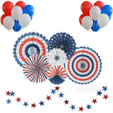 37pcs Patriotic Decorations American Independence Day  Blue Red and White Paper Fans Balloons Star Garlands Party Decor Supplies