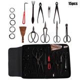 15 pcs bonsai carbon steel tool set
