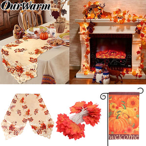 OurWarm Thanksgiving Decorations Maple Leaves Table Runner Fall Garland String Light Garden Flag Harvest Festival Party Supplies