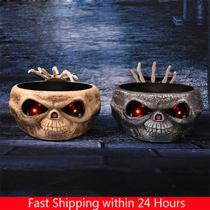 Halloween Electric Toy Candy Bowl with Jump Skull Hand Scary Eyes Party Creepy Decoration Haunted Skull Bowl Ktv Bar Horror Prop