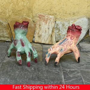 Halloween Decoration Scary Moving Ghost Doll Hand Halloween Horror Props Running Hand Voice Control Electric Toy Decor Home Bar
