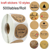 500pcs handmade with love labels stickers for wedding party decoration thank you sticker for thanksgiving christmas labels tags