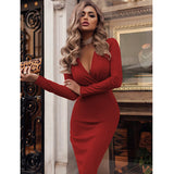 Women Dress Autumn Winter Casual Solid Color Long Sleeve Elegant Office Lady Dress Sexy Deep V Neck Bodycon Pencil Party Dresses