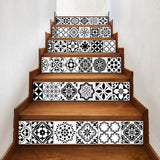 Mosaic Tile Wall Stair Stickers  Peel and Stick Tile Backsplash Stair Riser Decals DIY Waterproof Home Decor Staircase Decal