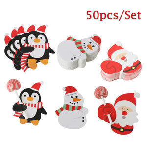 50pcs Santa Claus Penguin Lollipop Christmas Card Lolly Sugar-loaf Paper Card Holder Xmas Party Home Decoration Accessories