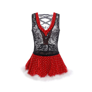 New Style Sexy Red Sexy Christmas Costume Halloween Stage Costume Christmas Character Cosplay Costume Christmas Party Set