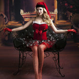 New western Christmas dress red mesh Christmas dress role-playing uniform temptation set