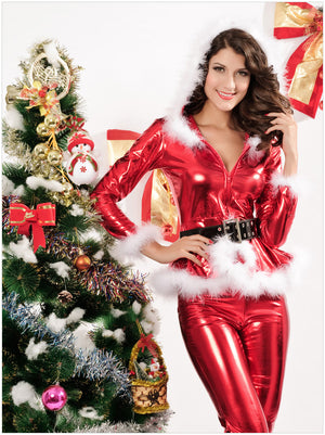 Good Quality Christmas Costume Sexy Lingerie PVC Christmas Lingerie Santa Costume Long Sleeve Women Suit For Christmas Party