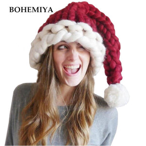 Handmade Knitting Red Women's Christmas Hats Winter Warm Beanies Halloween Cosplay Party Funny Caps H5
