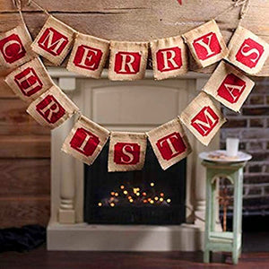 Merry Christmas Hanging Flags Christmas Banner New Year Decorations Christmas Ornaments Drops Home Decor Accessories 1Pack