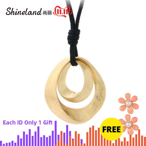 Shineland Gold Silver Color Pendant Long Necklaces For Women Fashion Jewelry 80cm PU Leather Chain Necklace collares mujer